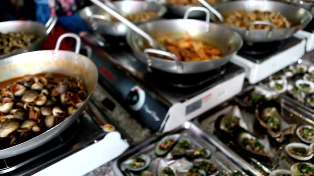 comercial kitchen in a seafood market in vietnam - french food market stock videos & royalty-free footage