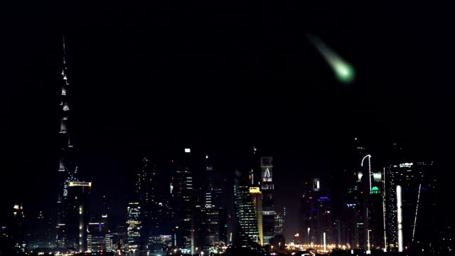 comet approaching to dubai city - meteor stock videos & royalty-free footage