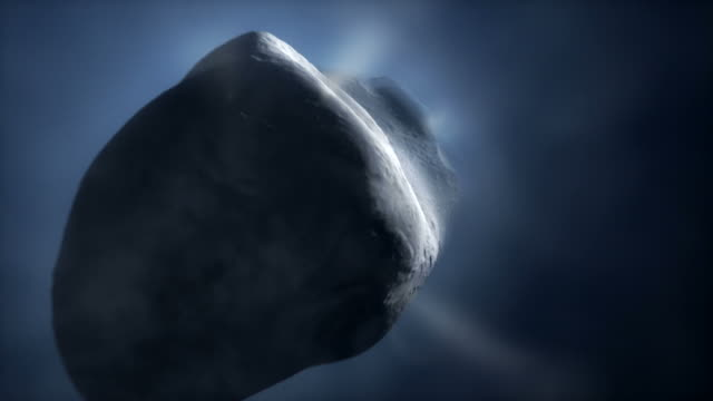 comet tempel 1 close-up (artists impression). this is the target for nasas deep impact probe - comet stock videos & royalty-free footage