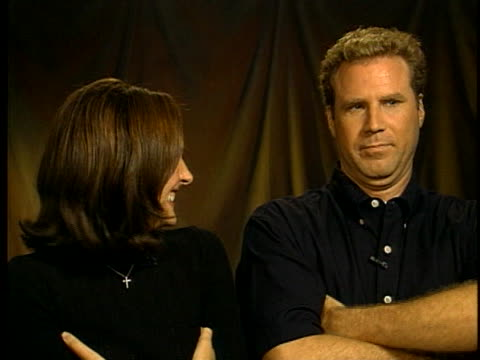 comic actors molly shannon and will ferrell discuss their upcoming movies and how they get into character. - molly shannon stock videos & royalty-free footage