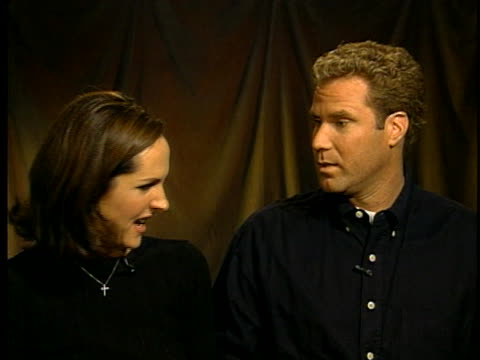 comic actors molly shannon and will ferrell playfully discuss how they get into character for their upcoming movie. - molly shannon stock videos & royalty-free footage