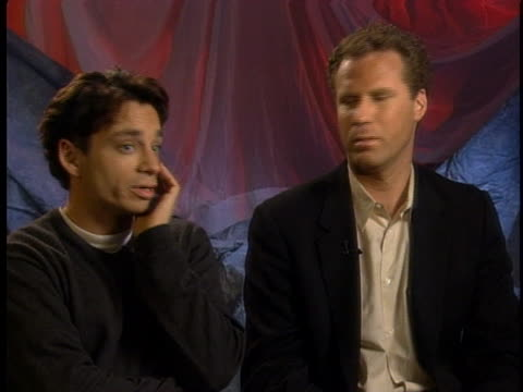 """comic actors will ferrell and chris kattan discuss making a movie out of their saturday night live skit, """"a night at the roxbury"""". - sketch comedy stock videos & royalty-free footage"""