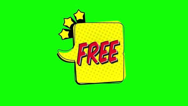 vídeos de stock, filmes e b-roll de grátis - comic pop art texto vídeo 4k, chroma key word animation - etiqueta mensagem
