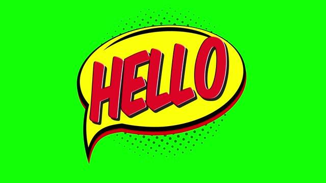hello - comic pop art text video 4k, chroma key word animation - greeting stock videos & royalty-free footage