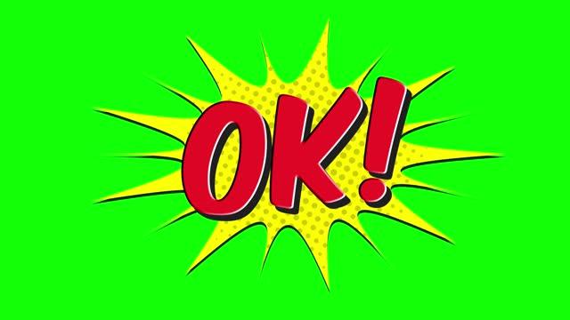 ok! - comic pop art text video 4k, chroma key word animation - ok sign stock videos & royalty-free footage