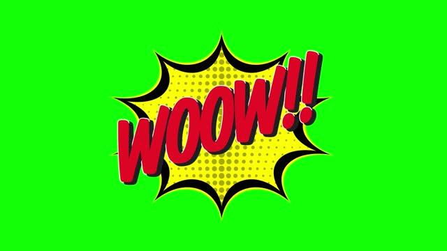 woow! - comic pop art 4k videotext, chroma schlüsselwort animation - majestätisch stock-videos und b-roll-filmmaterial