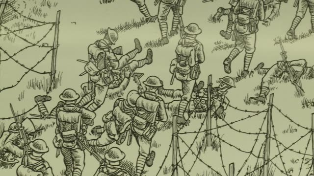 comic strip artist joe sacco unveils his latest project a massive mural depicting the first day of the 1916 battle of the somme - darstellen stock-videos und b-roll-filmmaterial
