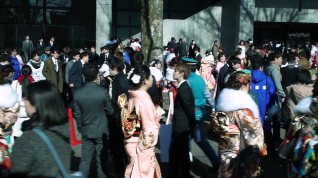 coming of age day is held annually on the second monday of the new year. it is a day to celebrate all those who have reached or will reach the age of... - japan stock videos & royalty-free footage