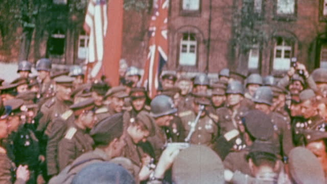 command staff from russia the united kingdom and the united states marching with their flags into village square / torgau germany - former ussr flag stock videos & royalty-free footage