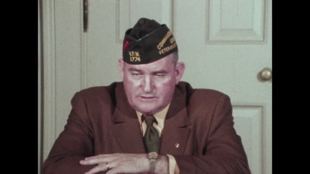 vfw commander explains position of vfw as opposing use of troops overseas unless war is declared an indirect protest to vietnam war - veterans of foreign wars of the united states stock videos & royalty-free footage