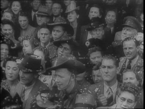 commander of the 16th brigade of australian imperial forces lord gowrie stands at attention with other officers on a platform closer view of lord... - anno 1942 video stock e b–roll