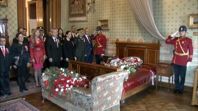 Commemoration ceremony is held at Dolmabahçe Palace where founder of the Republic of Turkey Mustafa Kemal Ataturk died at 905 am on Nov 10 1938...