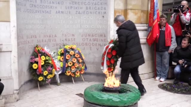 commemoration ceremony is held on the 23th anniversary of the start of the siege of sarajevo by bosnian serb forces which launched the 199295... - yugoslav wars stock videos & royalty-free footage