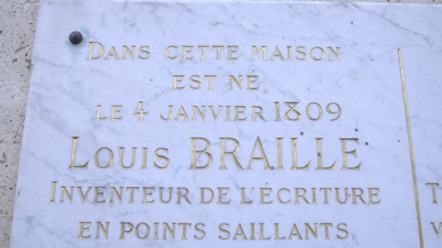 commemorative plaque at louis braille house - braille stock videos & royalty-free footage
