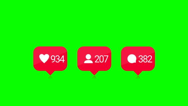 commenti 4k, mi piace, follower, contatore aumento rapido. tasto chroma. - social gathering video stock e b–roll