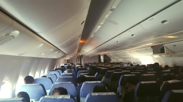 commercial aircraft cabin crowded with passengers - abitacolo video stock e b–roll