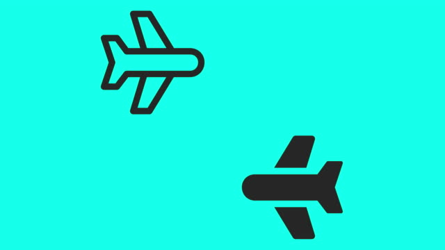 commercial airplane icons - vector animate - outline stock videos & royalty-free footage