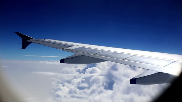 Commercial airplane in sky