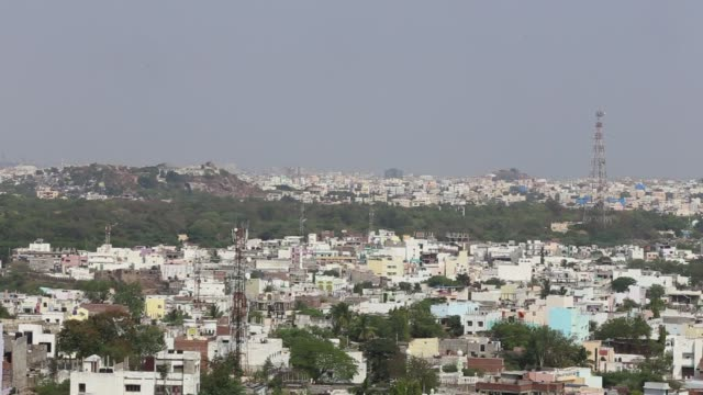 Commercial and residential buildings are seen from Golconda Fort in Hyderabad India on Tuesday March 11 Wide shot city views with residential...