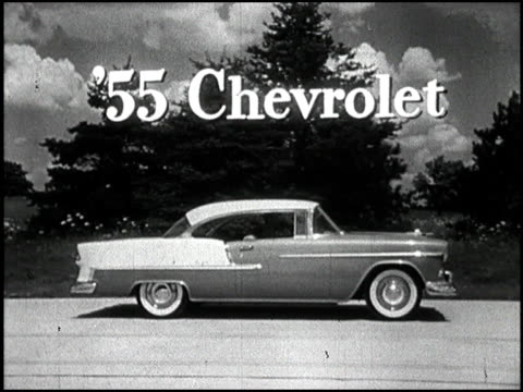a tv commercial announcing the classic 1955 chevrolet 1955 chevrolet tv commercial motoramic on september 15 1954 - chevrolet stock videos & royalty-free footage