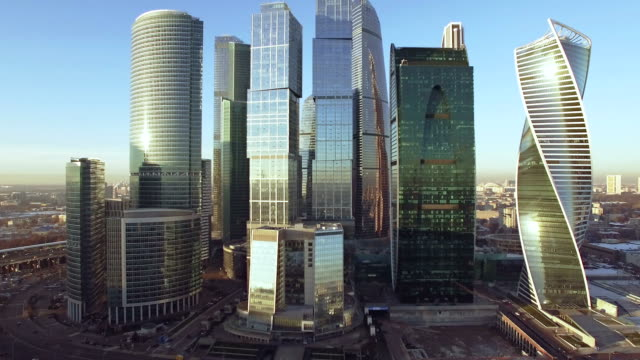 Commercial district in Moscow - aerial view