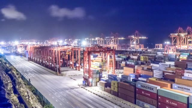 commercial dock with cargo containers . time lapse 4k - shanghai stock videos & royalty-free footage