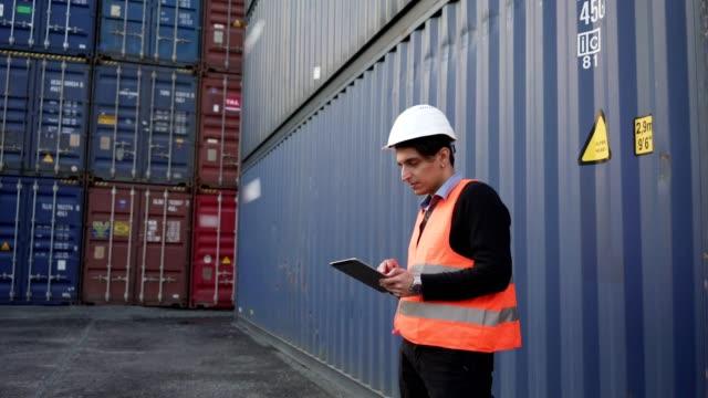 commercial dock worker - darsena video stock e b–roll
