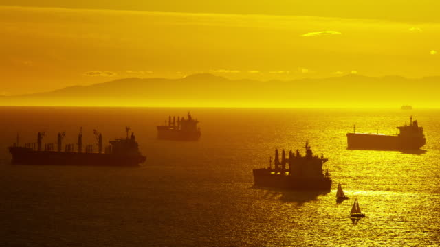 Commercial freight vessels in Vancouver harbour at sunset