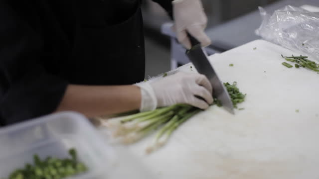commercial kitchen food preparation - chopping scallions/leeks - catering occupation stock videos & royalty-free footage