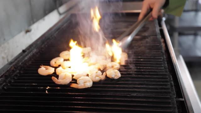 Commercial Kitchen Food Preparation - Grilling Shrimp
