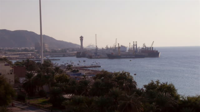 commercial port in aqaba, jordan. - gulf of aqaba stock videos & royalty-free footage