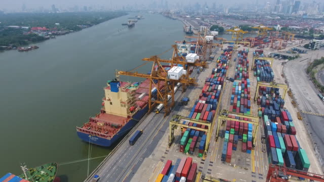 Commercial Port with Containers Ship, Bangkok, Thailand. Aerial Video