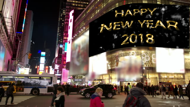 commercial sign happy year new york times square people billboards - manhattan theater district stock videos and b-roll footage