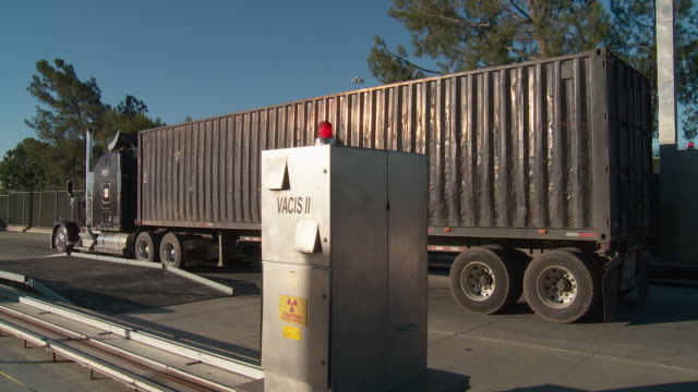 / commercial trucks arriving from Mexico are inspected at Otay Mesa Port of Entry