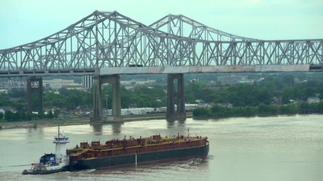 commercial vessel on mississippi river new orleans louisiana - tanker stock videos & royalty-free footage