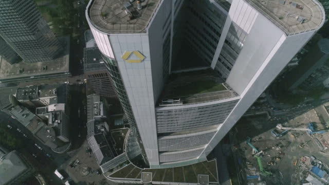 commerzbank tower aerial shot - daytime - skyscraper stock videos & royalty-free footage