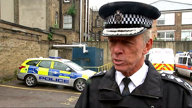 commissioner, sir bernard hogan-howe interview on body cameras; england: london: kentish town: ext sir bernard hogan-howe interview on police body... - kentish town stock videos & royalty-free footage