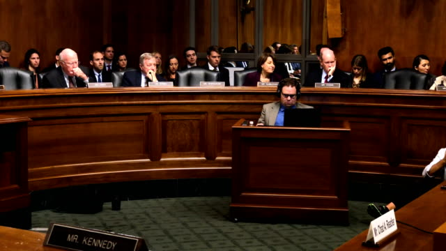 Committee members from the Democratic side listen during a hearing before the Senate Judiciary Committee October 10 2018 at Dirksen Senate Office...