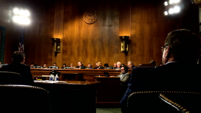 committee members listen during a hearing before the senate judiciary committee october 10, 2018 at dirksen senate office building on capitol hill in... - senate stock videos & royalty-free footage