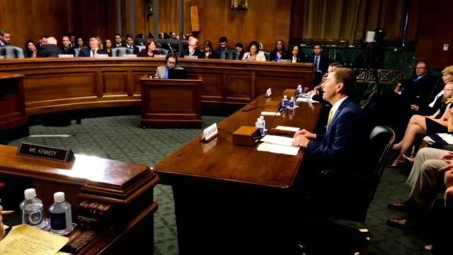 committee members listen during a hearing before the senate judiciary committee october 10, 2018 at dirksen senate office building on capitol hill in... - united states congress stock-videos und b-roll-filmmaterial