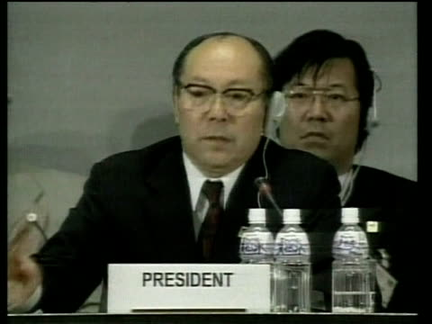 stockvideo's en b-roll-footage met committee president declares 3rd session of conference of parties to united nations framework convention on climate change closed kyoto; 11 dec 97 - 1997