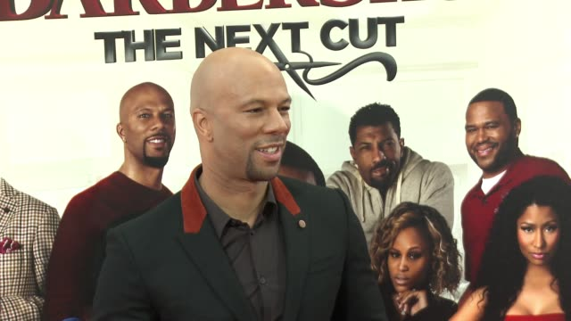 stockvideo's en b-roll-footage met common at barbershop the next cut los angeles premiere at tcl chinese theatre on april 06 2016 in hollywood california - tcl chinese theatre