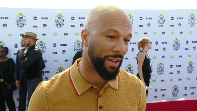 interview common on being here tonight on innovating the high school experience on who inspired him on what he wished he'd learned in high school at... - barker hangar stock-videos und b-roll-filmmaterial