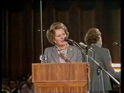 margaret thatcher speech on interest rates australia melbourne ext business leaders arriving for thatcher speech policeofficers gathered outside... - margaret thatcher stock videos & royalty-free footage