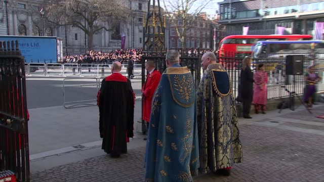 Arrivals and departures at Westminster Abbey Theresa May MP arriving / Prince Andrew Duke of York arriving / Prince Edward Earl of Wessex arriving /...