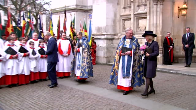 commonwealth day arrivals for westminster abbey service queen and duke out of abbey and queen accepts posy / queen talks to choirboys / prince... - abbey monastery stock videos & royalty-free footage