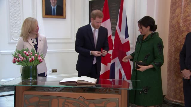 duke and duchess of sussex visit canada house england london canada house ext prince harry duke of sussex and meghan duchess of sussex arriving in... - canada house stock videos and b-roll footage