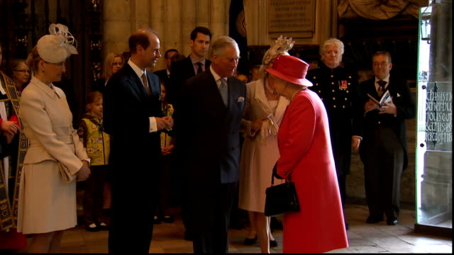 Commonwealth Day Queen Elizabeth II at Westminster Abbey INT Queen and Dr John Hall into Abbey / handshakes /Queen greeting Prince Charles and...