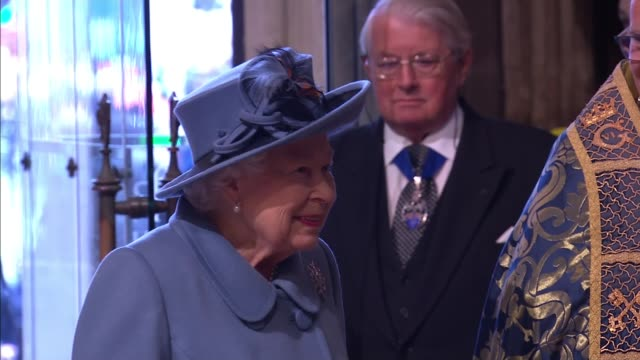 commonwealth day service: royal family and guests inside westminster abbey; england: london: westminster: westminster abbey: queen elizabeth ii... - raw footage stock videos & royalty-free footage