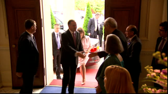 interiors england london marlborough house photography** commonwealth secretary general kamalesh sharma greeting unidentified guests as they arrive... - lunch stock videos & royalty-free footage